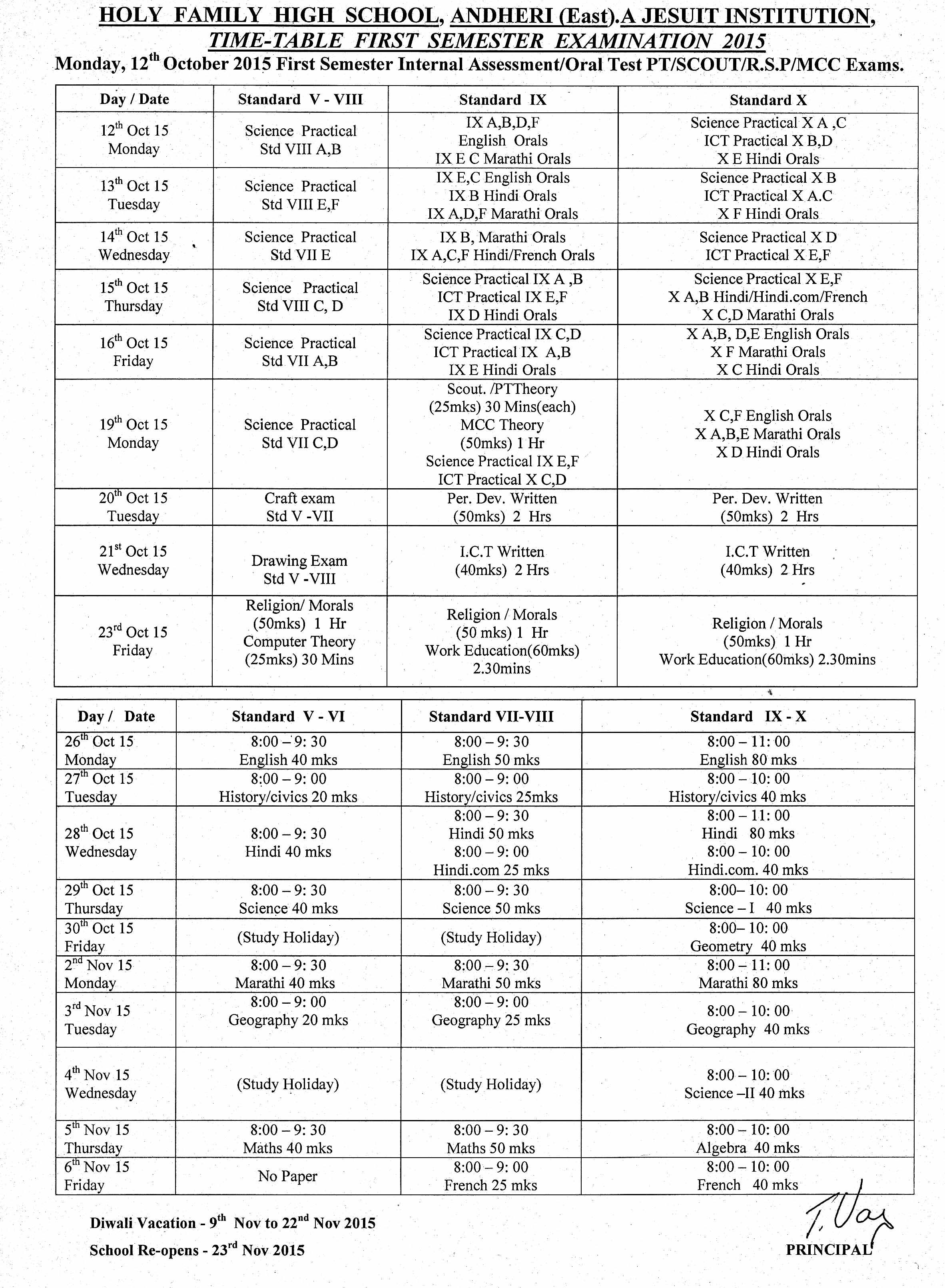 Time table october 2015 holy family high school jr for Tekerala org time table 2015
