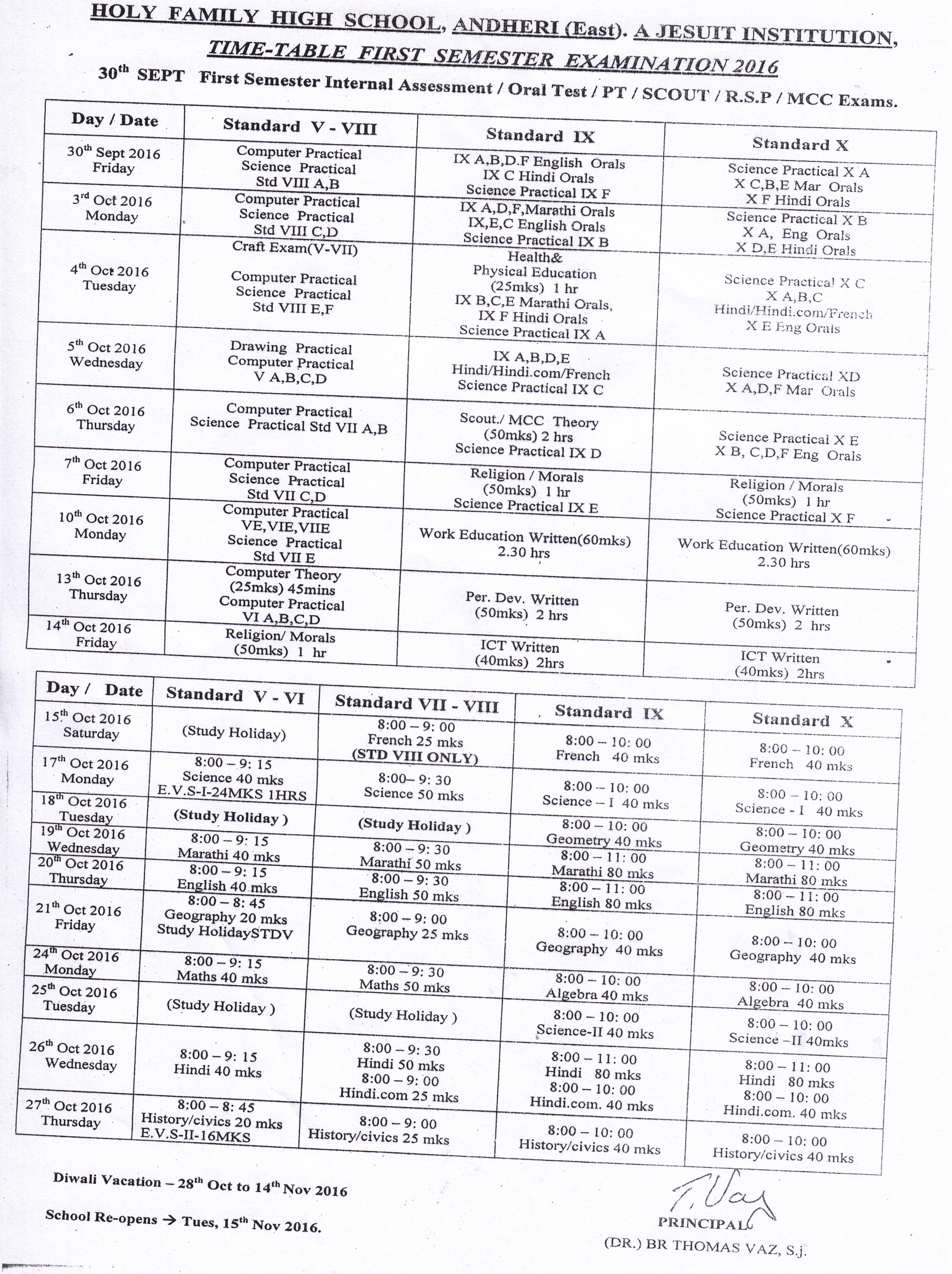 1st Terminal Examination Time Table